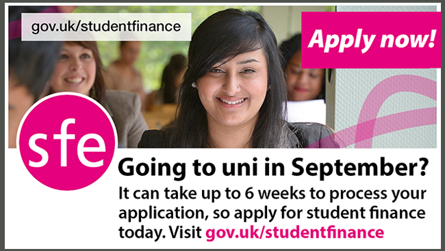 Going to uni in September? Click here to apply now for student finance.